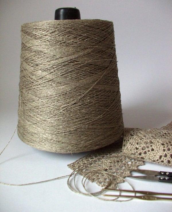 Organic Natural Flax Linen Yarn Thread on cone 2 ply / 3