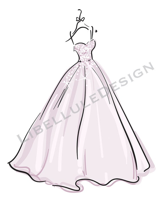 Wedding Dress Clip Art: Wedding Gown Wedding Dress Clipart Pack Vector Collection