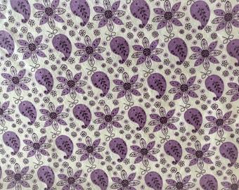 1 Yard 100% Cotton Purple Paisley/Floral Print Fabric