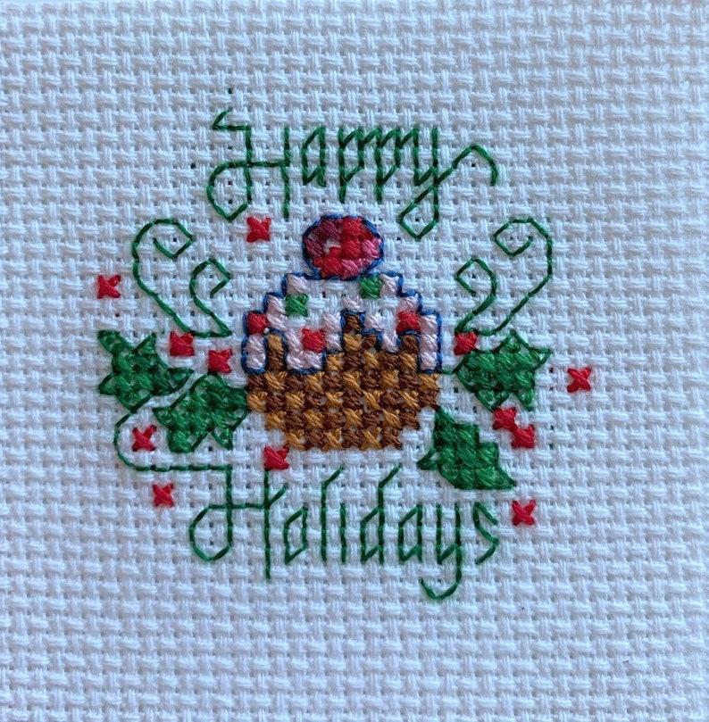 Christmas Themed Winter Holiday Mini Aida Stitched BlocksPanels Set of 4 Christmas Completed Cross Stitch Completed Counted Cross Stitch