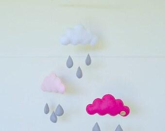 Hand made children's decorative cloud mobile, nursery decor.
