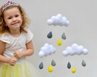 "Hand made children's cloud mobile, nursery decor. ""grey & Yellow"""