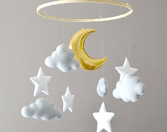 Nursery mobile (clouds, stars and moon)