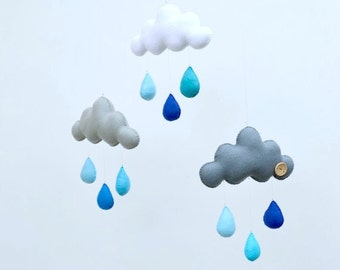 """Baby mobile, hand sewn cloud mobile """"Blues"""""""