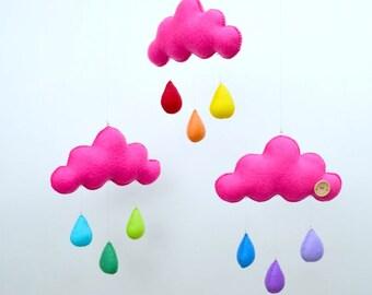 "Hand made children's cloud mobile, nursery decor. ""Color pop"""