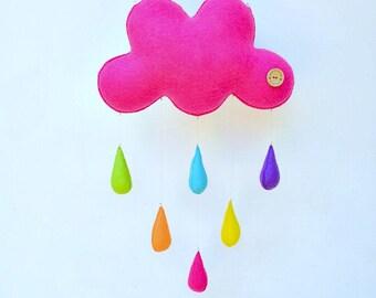 BIG bright cloud mobile, handmade childrens decor