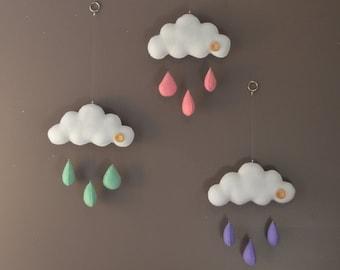 Cloud mobile, hand sewn felt