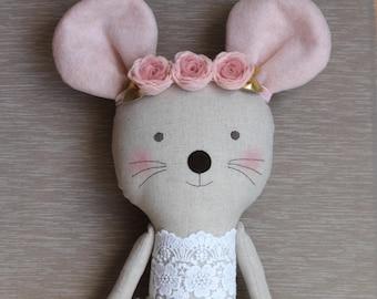Pink & Gold mouse ballerina in a white tutu. Stuffed animal mouse. Rag dolls. Nursery decor. Birthday gift idea.