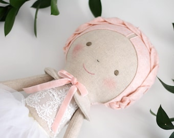 Soft Pink ballerina doll. Rag doll ballerina with a tutu. Linen and cotton handmade doll. Gift ideas for girls. Nursery decor. Heirloom doll