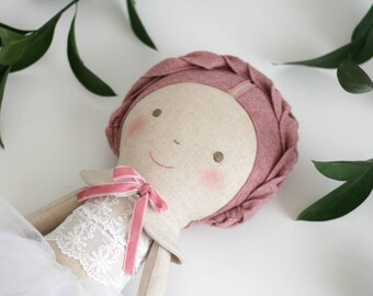 Old rose ballerina doll. Rag doll ballerina with a tutu. Linen and cotton handmade doll. Gift ideas for girls. Nursery decor. Heirloom doll