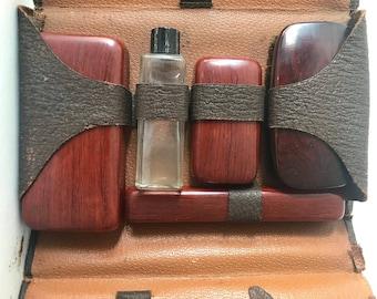 Vintage Mens Grooming Vanity  Kit with Straight Razor