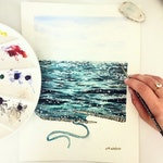 knitted sparkling sea watercolor print