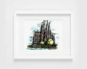 sagrada familia gaudi watercolor illustration art print   travel, wanderlust, barcelona, decoration, catalonia, spain, europe