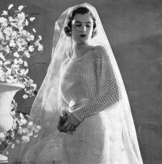 PDF 1930s Wedding Dress or Evening Gown Lacy Knit pattern | Etsy
