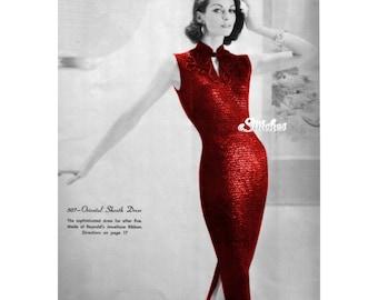 1960s Sheath Wiggle Dress, or Cheongsam - Knit pattern PDF 0507