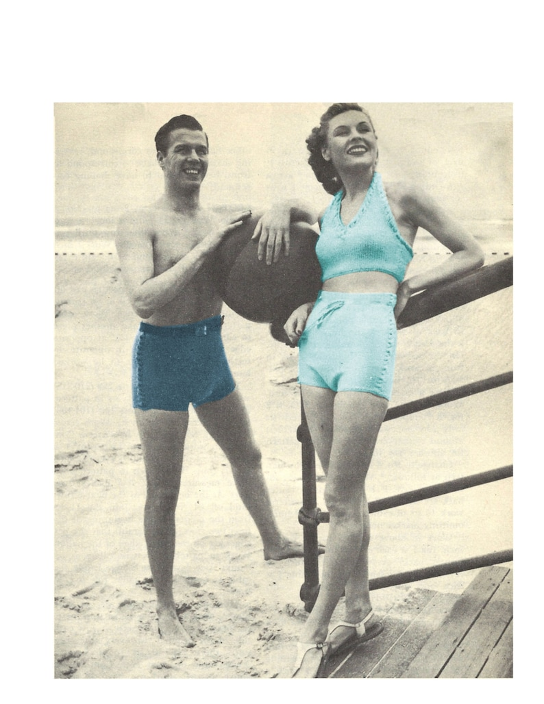 1940s Bathing Suits History 1940s Mens and Womens Beach Shorts (Trunks) and Halter Top Bathing Suit - Knit patterns PDF 1612 $3.75 AT vintagedancer.com