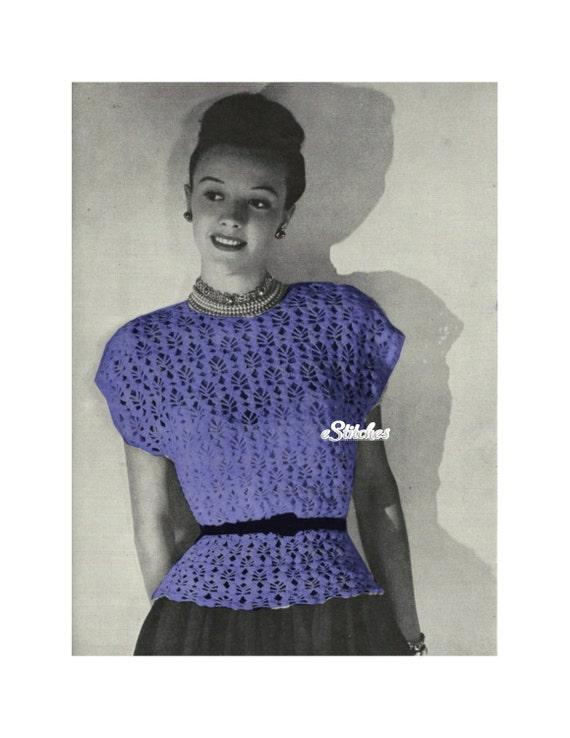1940s Lacy Cap Sleeve Tunic Top Crochet Pattern Pdf 2375 Etsy