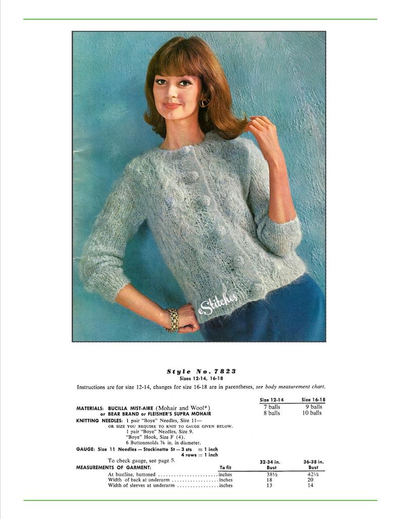 a5d1a13225f7 1960s Cable Knit Cardigan Bulky Sweater Knit pattern PDF
