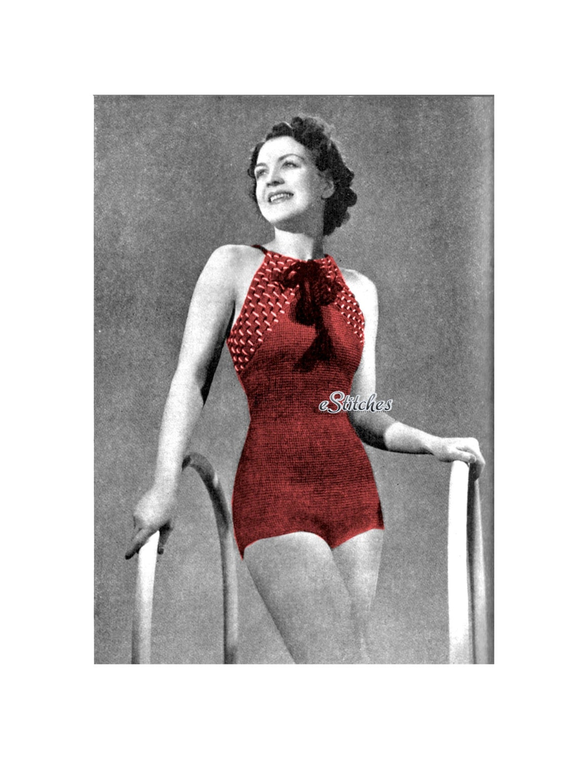 1930s Halter Swim Suit Or Bathing Suit With Criss Cross