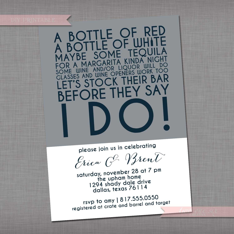 Stock The Bar Invitation Wedding Bridal Colorblock Etsy