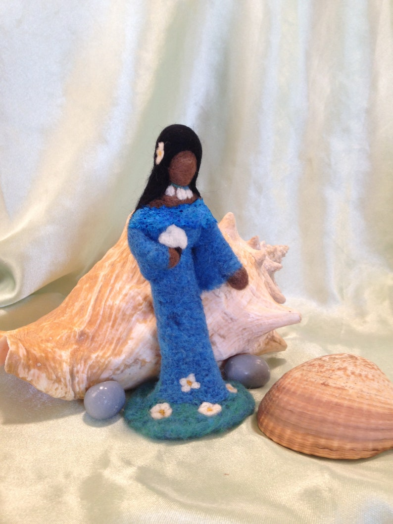 Needle Felted Yemaya, mother, goddess, Orisha, Yemoja, Sacred Space,  motherhood, women, doll, Statue, Ocean, Sea, La Sirene,Yemanja