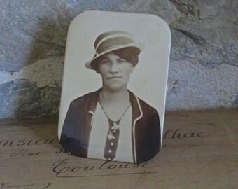 1920s tin photo portrait of young lady, flapper portrait