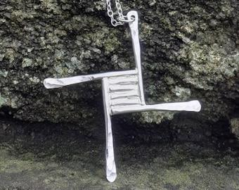 St Brigid's cross pendant Sterling silver, cross pendant handmade using silversmith methods in my work studio in Scotland
