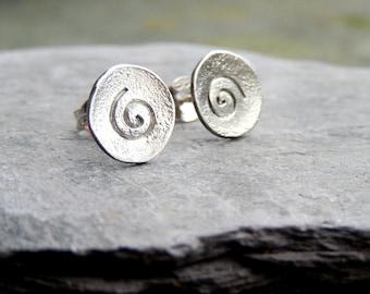Little silver spiral design stud earrings, silver stud earrings, spiral stud earrings