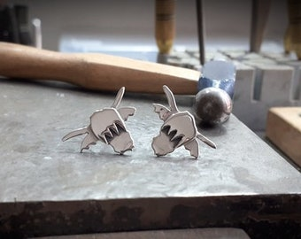 Sterling silver ALBA Highland cow stud earrings, 20 mm x 15 mm studs made in Scotland