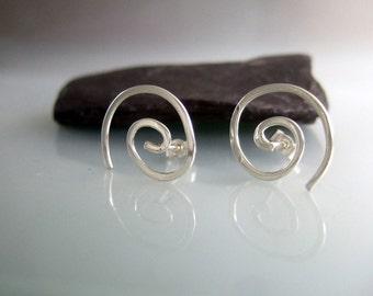 Spiral stud earrings, stud earrings,silver jewelry, handmade earrings, Made in Scotland