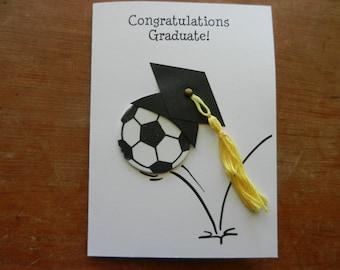Sport Graduation Handmade Greeting Card with volleyball, soccer, softball, baseball. football, basketball embellishment
