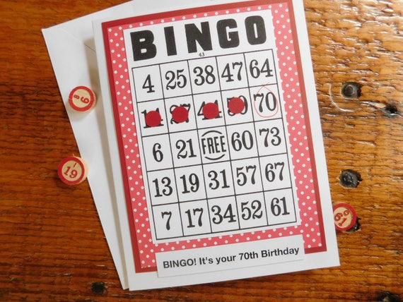 Bingo Birthday Greeting Card 70th 50th