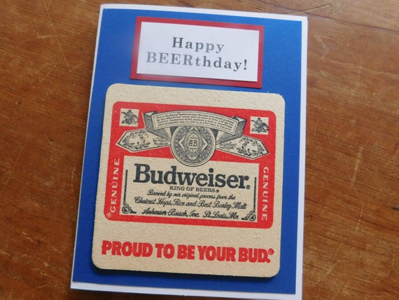 Budweiser Beer Handmade Beer Birthday Greeting Card W Etsy