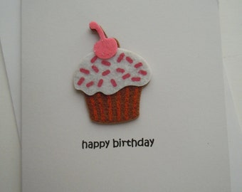 Happy Birthday Handmade Greeting Card with pink and brown felt Cupcake Embellishment