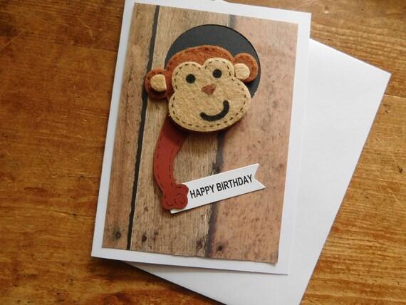 Monkey Birthday Card Monkey Card Birthday Card Animal
