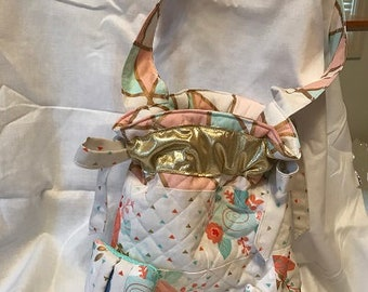 Quilted Spring Drawstring Tote, Tissue Holder and Key Ring Set 2 by Sew Practical, Mom and Pop Craft