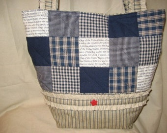 Patchwork Ruffles Tote Bag Purse Mailed Paper Pattern by Sew Practical, Mom and Pop Craft