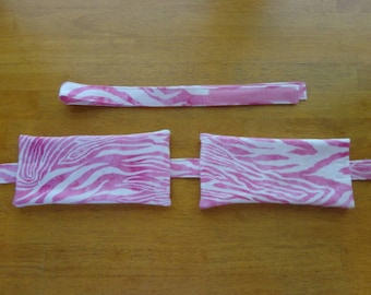 B002 Pink and White Zebra Stripes Flannel Designer Compress Holders by Sew Practical, Mom and Pop Craft