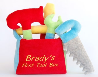 Baby Boy Gift For One Year Old Personalized Teether Toy My First Toolbox