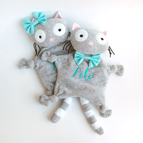 Baby Cat Toy Kitty Monogrammed Blanket Personalized Baby Etsy