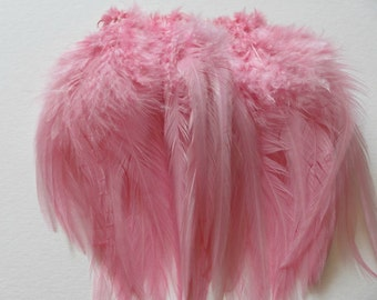 5 Pieces 6-7.5 Inches Light Pink Hand Painted Feathers