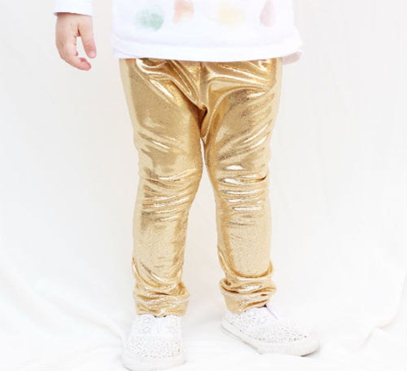 d8a6e064ff90d Baby Metallic Gold Leggings Baby Clothing Baby Leggings | Etsy