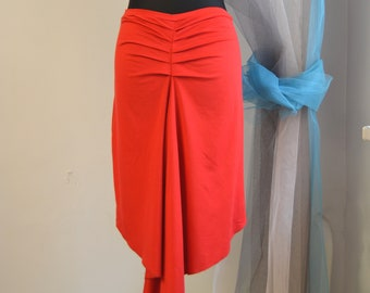 """Tango Skirt """"Madame Pivot"""" in Poppy Red, Skirt for Tango in Custom Color, Jersey Tango Skirt for Milonga, Red Tango Skirt with a Tail"""