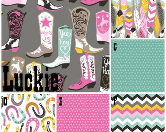 Diaper Stacker Lucky Cowgirl fabrics are your choice, Lolas Lovies handmade baby bedding
