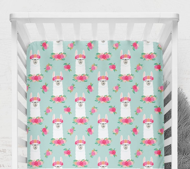 Baby Fitted Crib Sheet Mint Llama Changing Pad Cover Nursery Bedding