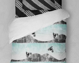 Twin/Full Bed Duvet Cover Comforter Sheets Motocross Dirt Bike Motorcycle Tire Tracks Aqua Black White Grey