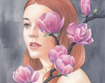 "Magnolia | Giclee Art Print | 8.3 x 11.7"""