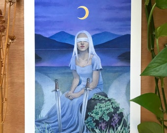 "Two of Swords | Tarot Card Art | Hand-Embellished Giclee Art Print | 8.3 x 11.7"""