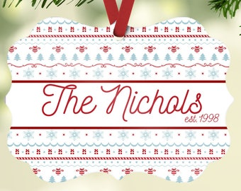 Family Name Ornament, Family Established Ornament, Personalized Christmas Ornament
