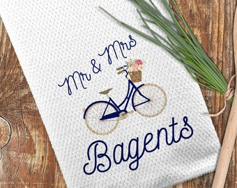 Mr and Mrs Kitchen Towel, Personalized Bicycle Towel, Custom Kitchen Towel
